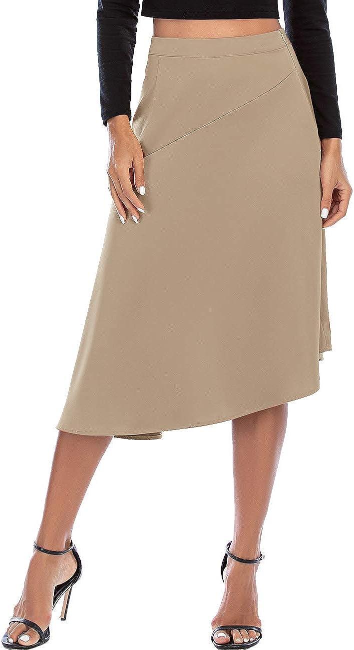 Women's Pencil Skirt High Waist Elegant Silky Satin Skirt for Work Party