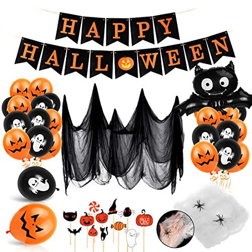 Bluelves Decoración de Fiesta de Halloween Set, Globos de decoración de Halloween, Happy Halloween Bandera, Halloween Tela De Araña, Halloween Magdalena Decoraciones, Halloween Murciélagos Globos
