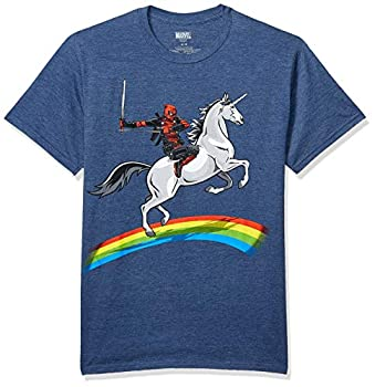 Marvel Men s Deadpool Riding A Unicorn On A Rainbow T-Shirt Navy Heather Large