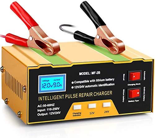 10A Ladegerät Autobatterie, 12V/24V KFZ Batterieladegerät Vollautomatisches Intelligentes Erhaltungsladegerät Geeignet für Blei-Säure-Batterie oder Lithium-Batterie