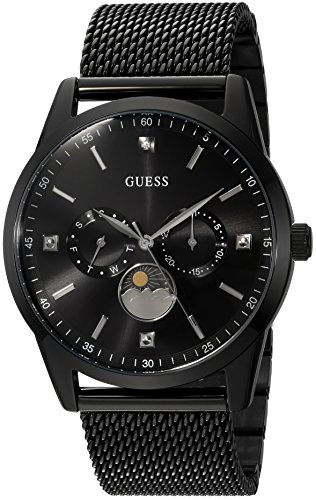 GUESS  Black Ionic Plated Mesh Bracelet Watch with Genuine Diamond, Day, Date +...