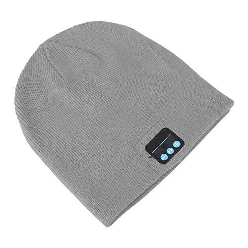 DAUERHAFT Bluetooth 4.2 Inalámbrico BT Sombrero BT Música Sombrero Fibra acrílica Estéreo Calentamiento Escuchar música(Grey)