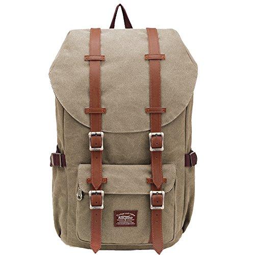 KAUKKO Zaino in nylon per Computer Portatile da 16', Casual retrò Viaggi Trekking Backpack (C Khkai)