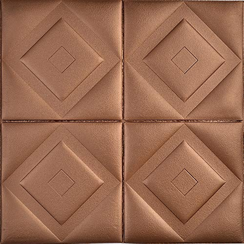 YANGMAN 3D Wallpaper Adesivi murali autoadesiva Impermeabile Schiuma Suono Pannelli coibentati Parete per la casa della Decorazione dell'ufficio Ristrutturazione, 60x60 cm, Brown,20pack77.4sq.ft