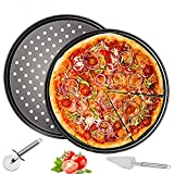 2 Pack Pizza Pan Round Pizza board + Pizza Cutter + Pizza Slicer 12.5' Carbon Steel Pizza Baking Pan...