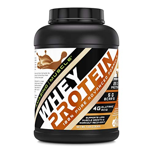Amazing Muscle 100% Whey Protein Powder *Advanced Formula with Whey Protein Isolate as a Primary Ingredient Along with Ultra Filtered Whey Protein Concentrate (Peanut Butter, 5 Pound)