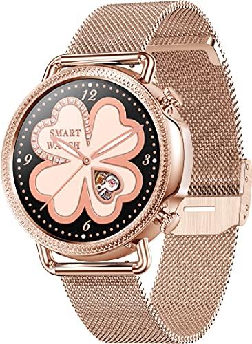 Reloj de pulsera inteligente para mujer, color dorado, plateado y negro, para fitness, seguimiento del ciclo femenino, gestión de pulso