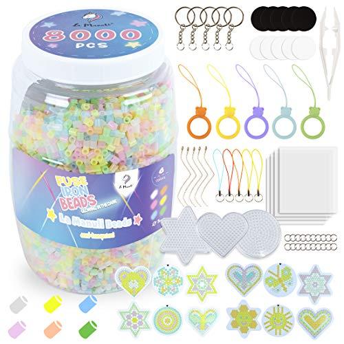 La Manuli 8000 Bügelperlen Leuchtend im Dunkeln | Perlen von Hama Beads kompatibel | Dose mit Zubehör | 5mm | 6 Farben | VOLLSTÄNDIGER Satz | Glow in The Dark