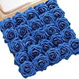 DerBlue 60pcs Artificial Roses Flowers Real Looking Fake Roses Artificial Foam Roses Decoration DIY for Wedding Bouquets Centerpieces,Arrangements Party Home Decorations (Sapphire)