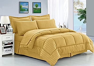 Elegant Comfort® Wrinkle Resistant - Luxury Silky Soft Dobby Stripe 8-Piece Bed-in-a-Bag Comforter Set (Package includes 4pc Sheet Set, 1 Comforter, 1 Bed Skirt, 2 Euro Shams)- Available In All Sizes And Many Colors