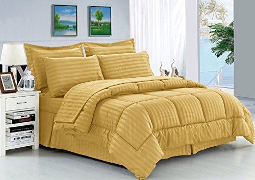 Elegance Lino Resistente a Las Arrugas Suave como la Seda Dobby Stripe Bed-in-a-Bag 8Piezas Comforter Set–-Hypoallergenic–Full/Queen, Dorado