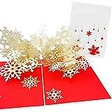 PopLife Cards Copo de nieve de invierno ráfaga 3d pop-up tarjeta de felicitación para todas las ocasiones - podadores de árboles, crafters, scrapbookers - pliegues planos para correo - fiesta de vaca