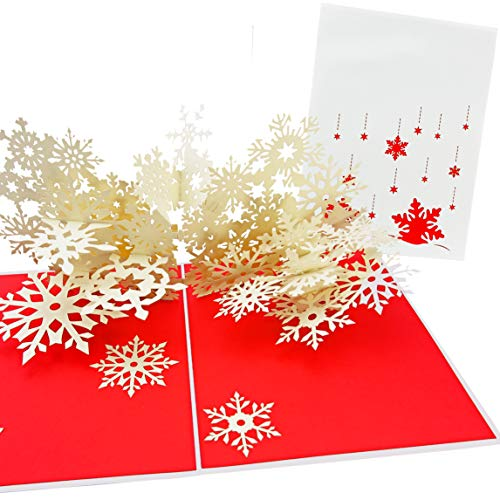 PopLife Winter Snowflake Flurry Pop Up Christmas Card - Handmade 3D Holiday Greeting, Thanksgiving, Blank Note, Small Stocking Present for Friends and Family, Naughty or Nice
