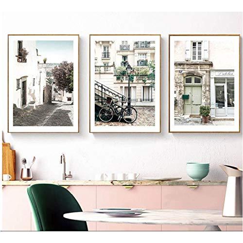 Fiets Holland Poster Modern Huis Landschap Canvas Kunst Posters en Prints Canvas Schilderij Beeld Oningelijst