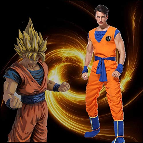 Alta calidad 5 piezas adulto Dragon Ball Z Goku Cosplay disfraz Anime Dragon Ball Son Goku Halloween Cosplay disfraces uniformes