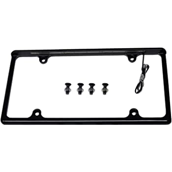 Radiantz Automotive Size License Plate Frame Black Finish with White LED to Light up License Plate Hardware Included