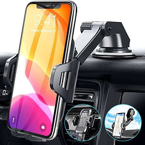 UVERTOOP Porta Cellulare da Auto Smartphone per Cruscotto e Parabrezza, Supporto Cellulare Auto per Molti 3 in 1 Supporto Smartphone Auto Porta Telefono per iPhone 12 11 Pro Xs Max 8 7 Samsung ecc.