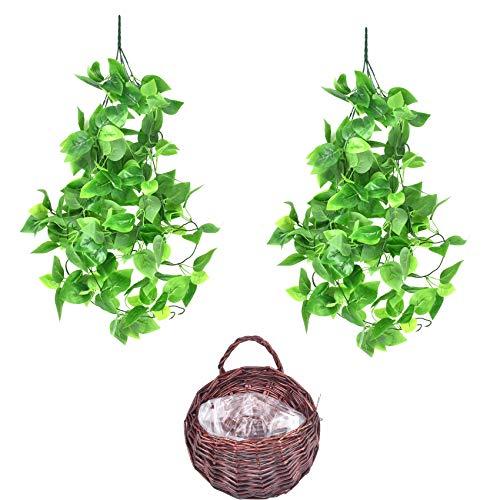 Plantas artificiales colgantes con cesta, hiedra falsa para plantas de verdura colgantes para decoración interior exterior jardín dormitorio