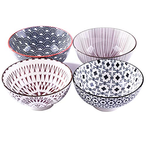 Set of 4 Rice Bowls 45 Inch Japanese Style Ceramic Rice Bowls Glazed Tableware of Various Designs Suitable for Dessert Snacks Cereal Soup