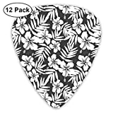 Guitar Picks 12-Pack,Artisan Exotic Hibiscus Flowers Fern Leaves Pattern Nature Plant Picture Theme Art