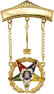 Worthy Matron Gavel Jewel OES Eastern Star Officer Brooch, Can Be Engraved, 2 Inch Tall 24K Gold Plated with Safety Clutch