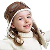 Happy Will Baby Pilot Hat Warm Aviator Cap with Earflaps Unisex Kids Fleece Winter Protect Beanie Hat for Toddler Baby Boys Girls(Brown)