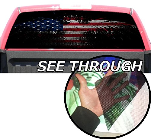 P358 American Flag Eagle Tint Rear Window Decal Wrap Graphic Perforated See...