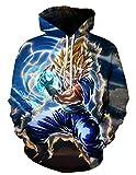 Sudaderas Dragon Ball Niño Hombres Sudadera con Capucha 3D Unisex Impresión Sudadera de Manga Larga Suéter Fresco Dibujos Animados de Fans Streetwear Sudaderas de Moda con Bolsillos (QZ107, S)