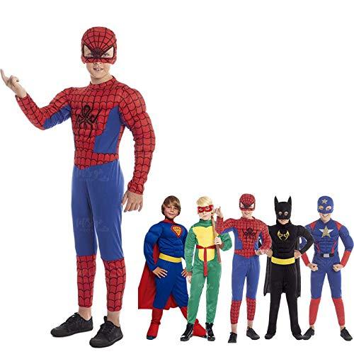 Disfraz Superhéroe Spider Niño Araña【Tallas Infantiles】[Talla 3-4 años] | Disfraces Niños Superhéroes con Capa Antifaz Cosplay Héroes para Carnaval Halloween Cumpleaños Fiesta Disfraces
