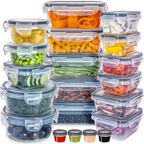 Set of 40 [20 Containers + 20 Lids] Airtight Food Storage Container Set - Re-usable Plastic Food...