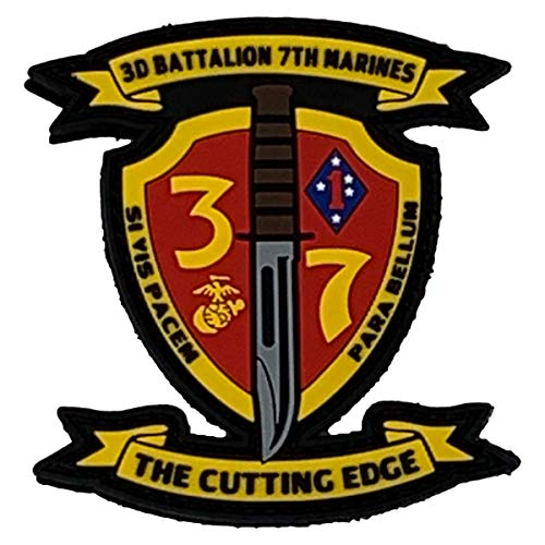 PatchOps Marine Corps 3rd Battalion 7th Marines New Unit PVC Tactical Morale Patches (3rd Bn 7th Marines (New Logo)) (Marine Corps Unit Patches)