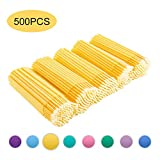 Quewel Lash 500 Pcs Disposable Micro Applicator Brush for Makeup Beauty Dental Brush for Oral 8 Colors 3 Size(2.5mm,2mm,1.5mm) (Yellow,2.5mm)
