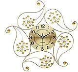 ZGYQGOO Orologio da Parete al Quarzo Orologio da Parete Moderno in Oro con Diamanti in Metallo Design Floreale Silenzioso 3D Wall Art (Colore: Oro)