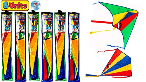 JA-RU Delta Kite Nylon Large in Bulk Kites for Kids (Pack of 6 Assorted) Easy to Assemble Glider , Easy to Fly & Launch. Family Outdoor Kids Games. Party Favors Gifts. Plus 1 Bouncy Ball. 9877-6p