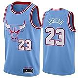 QGF Chicago Bulls Jersey #23 Michael Jordan Retro Camiseta sin mangas Cómodo Malla Bordado Fresco Transpirable Chaleco Azul-M(175-180cm)