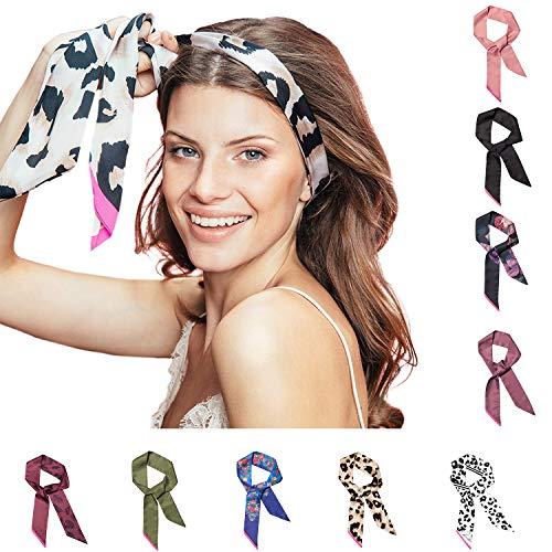 Pony Puffin Haarband - Braid Bow Verschiedene Farben Kopfband 120 x 7 cm Stirnband Seidenmatte Optik Bandana Für Flechtfrisuren … (floral blau/pink)