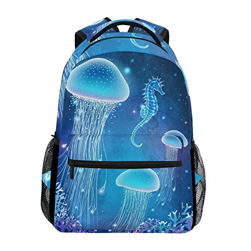 Backpacks College School Book Bag Travel Hiking Camping Daypack | 16'x12'x6' | Holds 15.4-inch Laptop (Jellyfish Seahorse Blue)