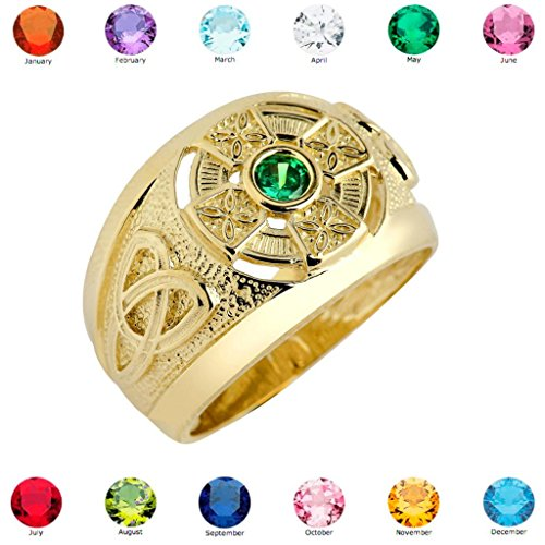 Solid 10k Yellow Gold Trinity Knot Band Personalized Birthstone CZ Celtic Cross Ring