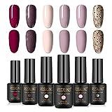 S-TROUBLE Esmalte en Gel, Juego de Esmalte de uñas en Gel 6 Colores Primavera Verano Dorado Color Claro Rosa Negro Color Desnudo Soak Off Gel Polish Set