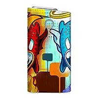 glo グロー グロウ 専用スキンシール 裏表2枚セット カバー ケース 保護 フィルム ステッカー デコ アクセサリー 電子たばこ タバコ 煙草 喫煙具 デザイン おしゃれ glow キャラクター 赤 緑 010807