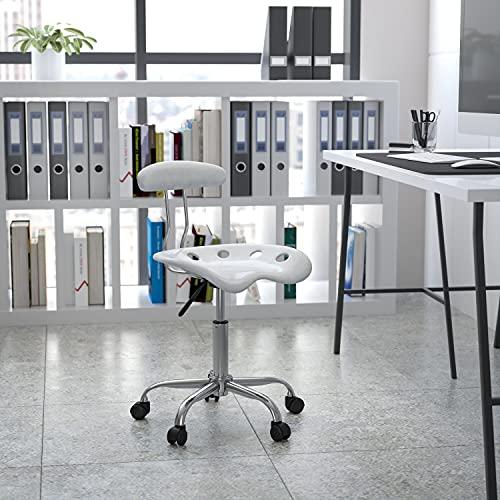 Flash Furniture Silla de escritorio giratoria con asiento mecánico, color Plateado y Cromado adecuados