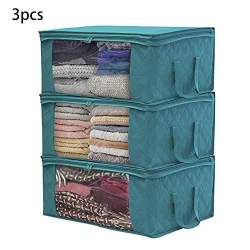 Dibiang 3 Stück Kleiderbox faltbar Vliesbeutel Staubdicht und feuchtigkeitsdicht Beutel, blau, 49Ã-36Ã-21cm