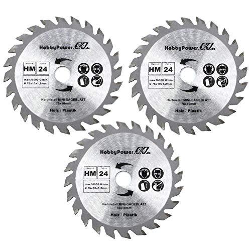 3 Stück Sägeblatt Trennscheibe 76 x 10 mm 10,8-12V Holz Kunststoff Aluminium Mini Handkreissäge Tauchsäge Kreissäge