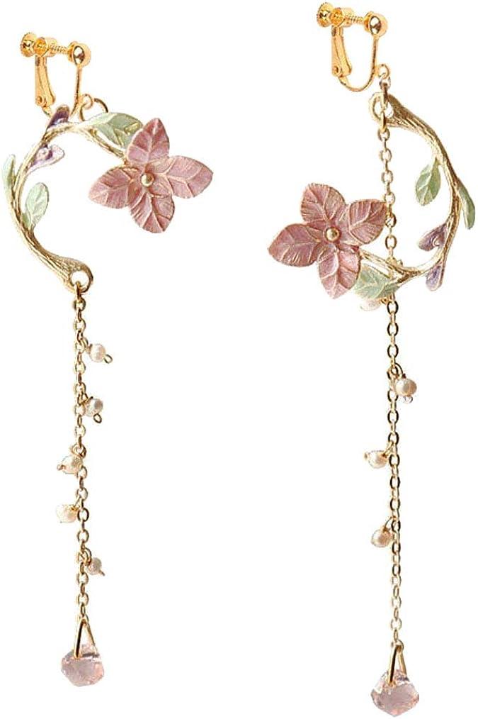 Gold Plated Clip on Earrings Enamel Flower Dangle Long Chain Tassel Crystal Drop for Girls Women