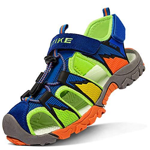 WETIKE Kids Sandals Closed-Toe Waterproof Boys Sandals Adjustable Two-Strap Girls Hiking Walking Sandals Summer Seacamp Sandals Lightweight Comfortable Sandals for Girls Fashion Size 9.5 Blue