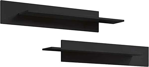 MEBLE FURNITURE RUGS Fly Modular Wall Mounted Floating 2 Piece Shelf Set Type MX Black