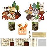 AMAZING1 Woodland Criature Party Supplies – Centros de mesa de doble cara con animales de bosque para decoración de fiesta de cumpleaños