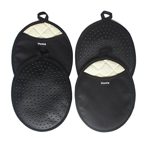 Honla 4 Piece Oval Pot Holders with Pockets,Heat Resistant to 500 F,Flexible Non Slip Silicone Grip Hot Pads,Black