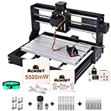 2-in-1 5500 m W 3018 Pro CNC Router Engraving Machine, GRBL 3 Axis Engraver Wood Plastic Acrylic PCB PVC MDF Carving Milling with Offline Controller, CNC Router Bits, ER11 Collects