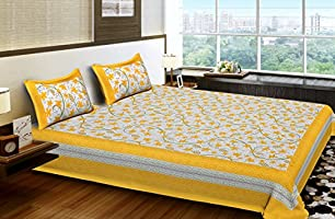 Bhagwatiudyog King Size Block Print Cotton Double Bedsheet with Pillow Cover (Yellow,Floral)